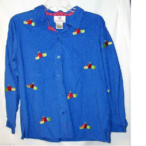 QUACKER FACTORY Blue M shirt Fall Apples Corduroy